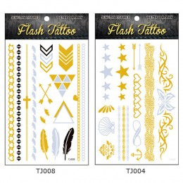 New Design Silver Gold Temporary Tattoo Stickers 5 Styles/lot