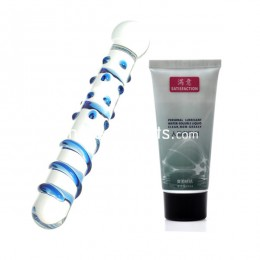 High Borosilicate Glass Simulation Body Massager + Water-soluble Moist Lubricant - 60ml