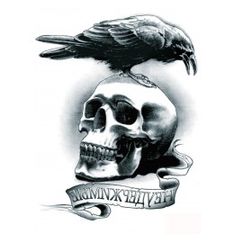 Large 3D Waterproof Arm Skull Birds Tattoos Halloween Horror Fake Stickers
