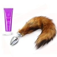 Frisky Fox Tail Anal Plug - M + Long Lasting Water Soluble Massage Lube - 60ml