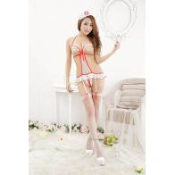 Nurse Uniform Bikini Garment Type Garters Sexy Lingerie - White + Red