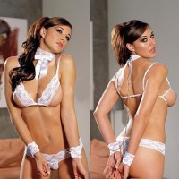 Women's See-through Lace Bra and Panties - White