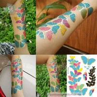 Colorful Butterfly  Necklace Tattoo Temporary Flash Tattoo Stickers 5 styles/set