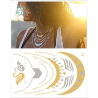 Gold Silver  Temporary Tattoo Stickers Necklace Metallic Tattoos 5 styles/set
