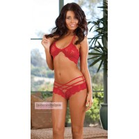 Women's See-through Lace Bikini Suit Sexy Lingerie - Red