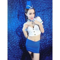 Women's Fashionable Sexy  Air Hostess Style Cosplay Sleep Dress Set - White + Blue