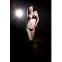 Ultra-Sexy Patent Leather Bra and Panties Lingerie Set - Black