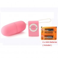 Novelty MP3 Remote Control Vibrating Bullet Egg Pink + 4 x AAA Batteries