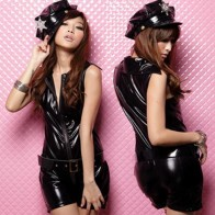 Cool Leather Sexy Police Costumes One-piece Unform Lingerie w/Belt - Black