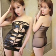 See-through Hollow Out Mesh Strapless Tight Dress Clubwear Mini Dress