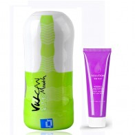 FunZone Vulcan Ripe Mouth Male Masturbation Sleeve + Long Lasting Water Soluble Massage Lube - 60ml