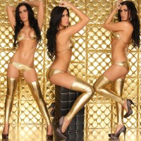 Ultra-Sexy Patent Leather Bra + Underwear Lingerie Set - Golden