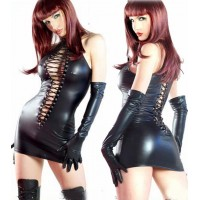 Women's Sexy Patent Leather Strappy Dress w/ Gloves - Black