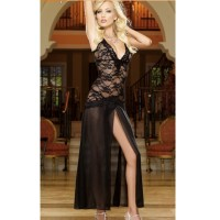 Women's Sexy Spaghetti Strap Deep V Neck Slit Long Maxi Nightdress Lingerie w/ Thong - Black