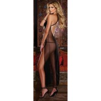 Women's Sexy See-Through Slit Nylon + Spandex Long Maxi Nightdress Lingerie w/ Thong - Black