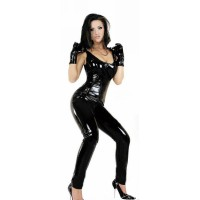 Sexy Elastic Grid Pattern Zippered Vest Catsuit Bodysuit Lingerie - Black