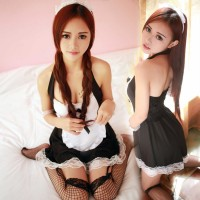 Women's Fashionable Sexy Maid Style Lace Sleep Dress