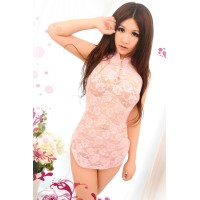 Sexy Cosplay Cheongsam Style Lace Sleep Dress w/ Bellyband Floral + G-string