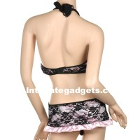 Sexy Lingerie Lace Short-Skirt Costume Dress + G-String Set