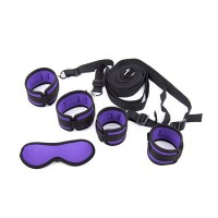 Intimate™ Wet Purple Bondage Enthusiast Love Set Handcuffs + Ankle Cuffs + Blindfolds Sex Toy for Couple