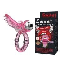 Baile® 10-Function Vibrations Sweet Vibrating Tongue Cock Ring for Couple