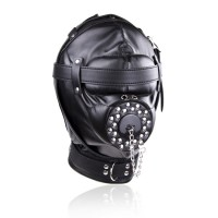 Black Fetish SP Constraint Leather Mask Headgear Advanced Blindfolds S&M & Bondage Sexy Toy for Couple
