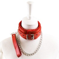 Leather Neck Cover Collar with Dog Chain Master Slave Bondage Sexy Toy