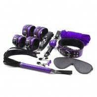 Intimate™ 8In1 Plush Bondage Kit, Handcuff+Ankle Cuff+Collar+Blindfold+Nipple Clip+Ball Gag+Flogging+Rope Sex Toys for Couple