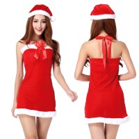 Halter Rosette Christmas Costume Red Skirt Dress Babydoll Sexy Suit Sexy lingerie