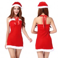 Halter Rosette Christmas Costume Red Skirt Nightclub Dress Babydoll Sexy Suit Sexy lingerie