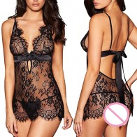Intimate™ Deep V Lace Night Dress + G-string Kit Sexy Lingerie for Women