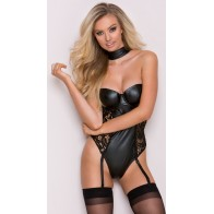 Intimate™ Lace Teddy PU Openwork Mesh Garter Faux Leather Sex Lingerie For Women