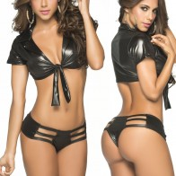 Intimate 2IN1 Leather Open Corth Sexy Dress NightClub Sexy Lingerie for Women