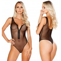 Intimate™ Black Mesh Bodysuit Deep V Teddy Perspective Sexy Lingerie For Women