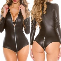 Intimate™ Gothic Sexy Patent Leather Teddy PU Costume Open Crotch Lingerie For Women