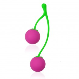 Intimate Kiss Delectable Cherry Love Balls for Kegel Exercise - Pink + Green