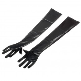 Fifty shades Intimate Love Rubber Surface Spandex Cloth Gloves - Black (Pair)