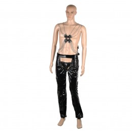 Fifty shades Passionate Wet-look Cross Tops + Pants Set