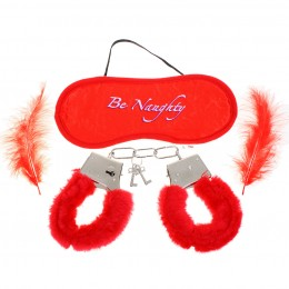 Fifty shades Soft Fluffy Feathers Romantic Love-Cuffs + Eyeshade + Feathers Set - Red