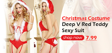 Deep V Christmas Costume Red Teddy Sexy Suit Sexy lingerie