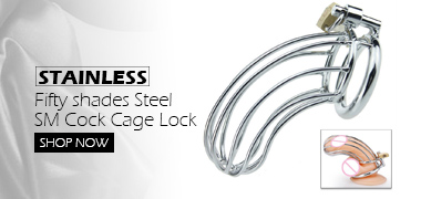 New Fifty shades Stainless Steel SM Cock Cage Lock Adult Game Device